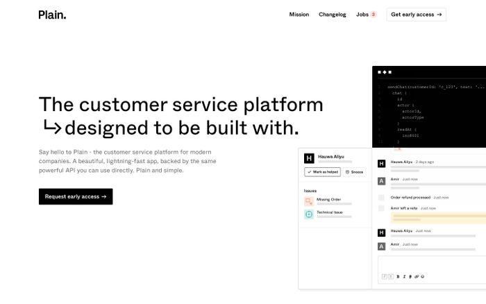 Screenshot of Plain website