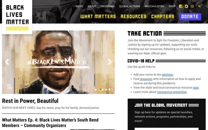 Screenshot of  Black Lives Matter