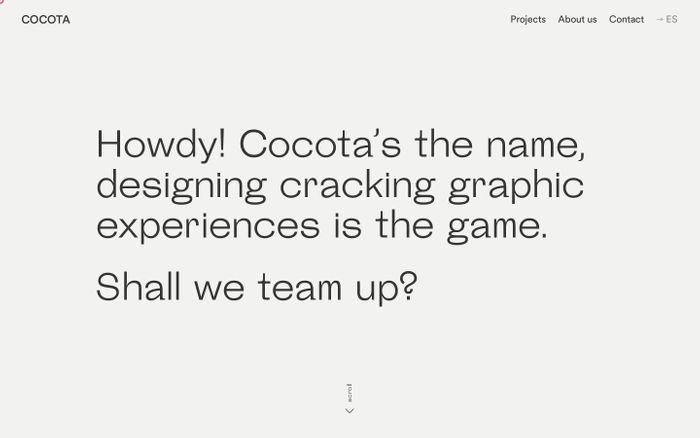 Screenshot of Cocota Studio - Graphic Design Studio based in Madrid