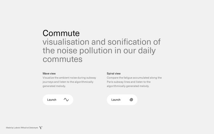 Screenshot of Commute website