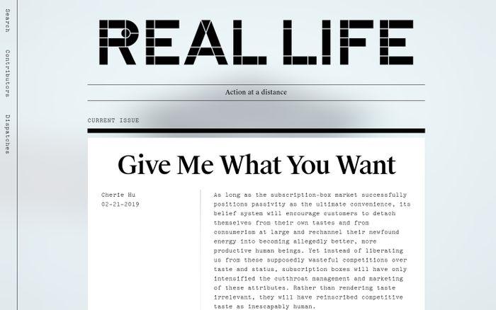 Screenshot of Real Life | Action at a distance
