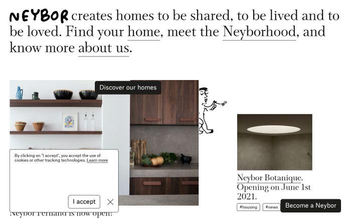 Screenshot of Neybor website