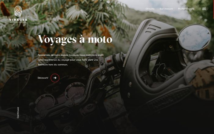 Screenshot of Virages • Motorcycle roadtrips