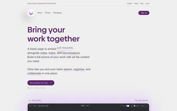 Screenshot of Clew website