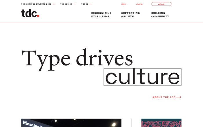 Screenshot of The Type Directors Club - Promoting excellence in typography for over 70 years.