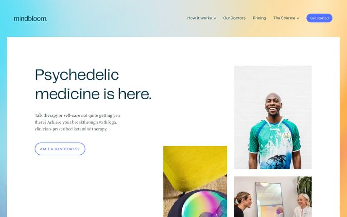 Screenshot of Psychedelic medicine is here | Mindbloom website
