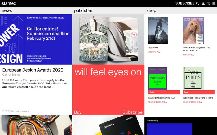 Screenshot of Slanted.de by Slanted Publishers - Design-News, Publisher, Shop - slanted