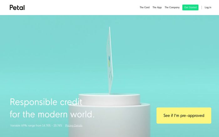 Screenshot of Petal - No Fees, High Limits, Cash Back That Grows With You. website