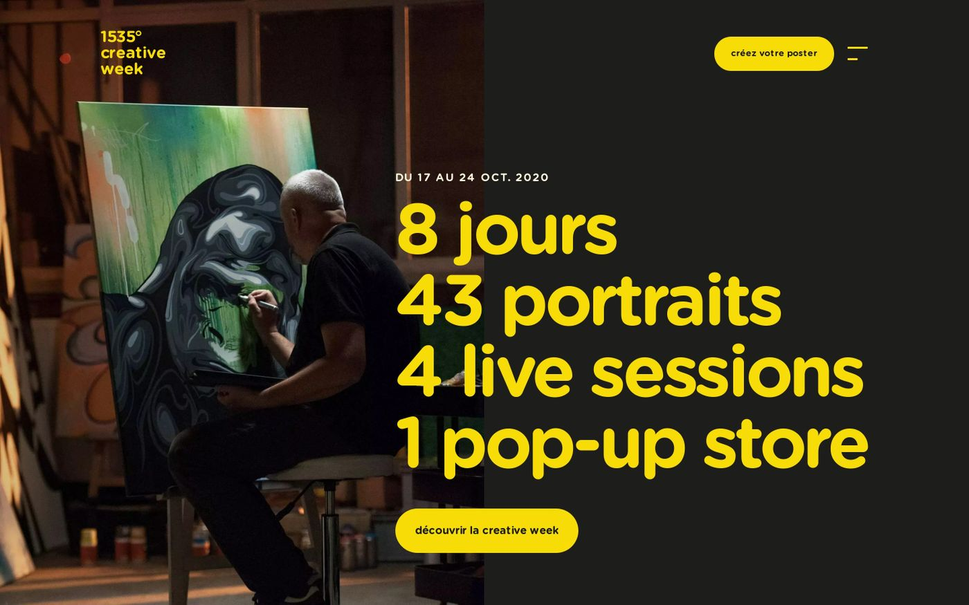 Screenshot of 1535° creative week website