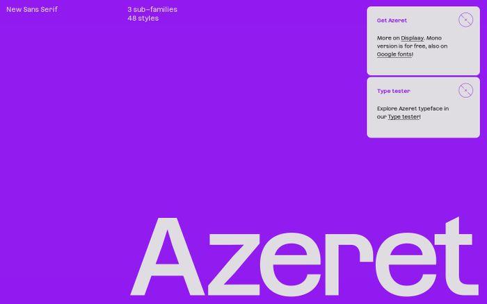Screenshot of Azeret typeface website