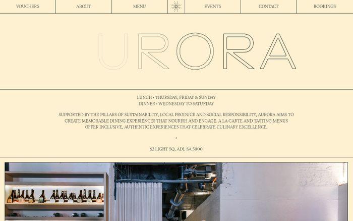 Screenshot of Aurora Restaurant website
