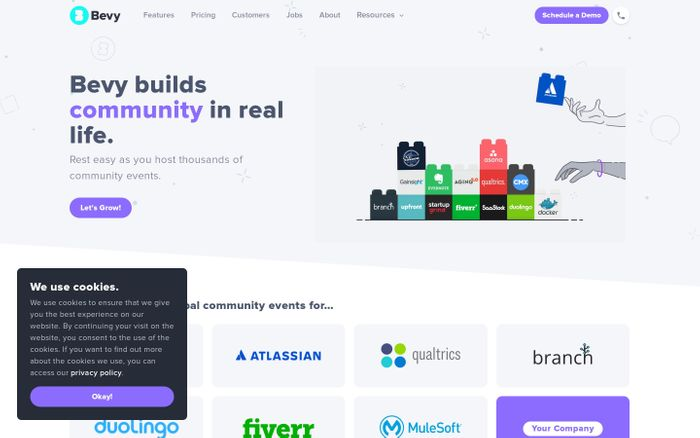 Screenshot of Bevy — Build Communities in Real Life.