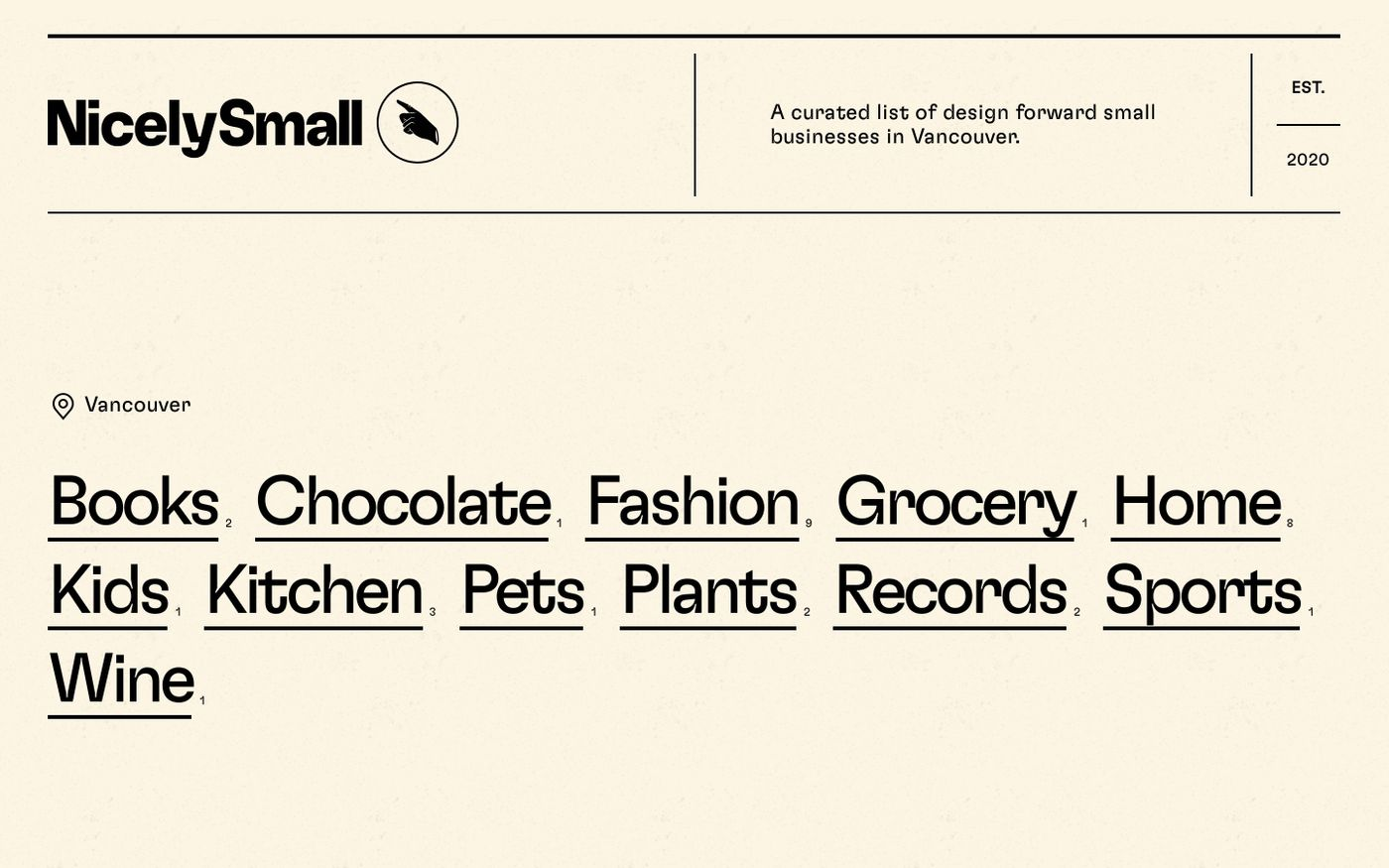 Screenshot of NicelySmall website