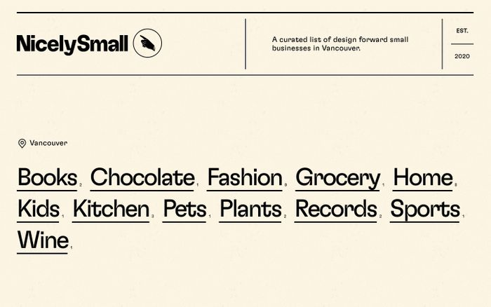 Screenshot of NicelySmall - A curated list of design forward small businesses in Vancouver.