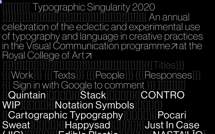 Screenshot of Typographic Singularity 2020