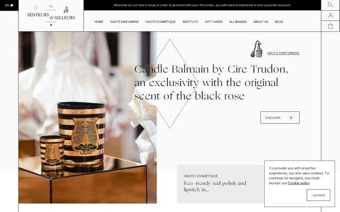 Screenshot of Senteurs d'ailleurs website