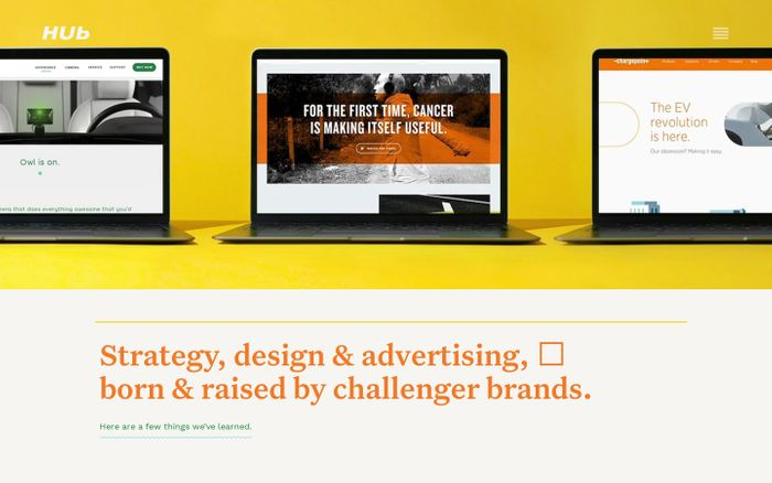 Screenshot of HUb : Strategy, Design & Advertising Agency : SF / Philly