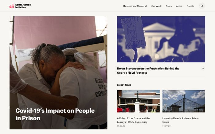 Screenshot of Equal justice initiative website
