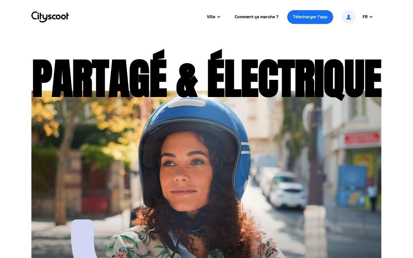 Screenshot of Cityscoot | Location de Scooter Electrique en Libre Service website