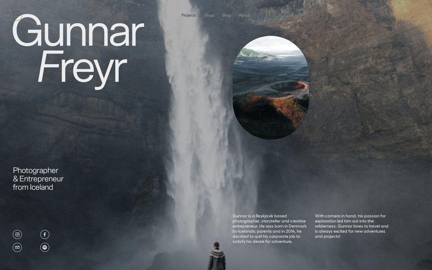 Screenshot of Icelandic explorer website