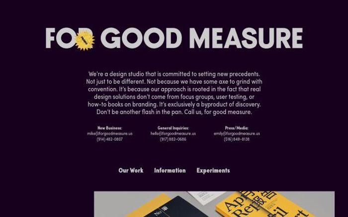 Screenshot of Forgoodmeasure website