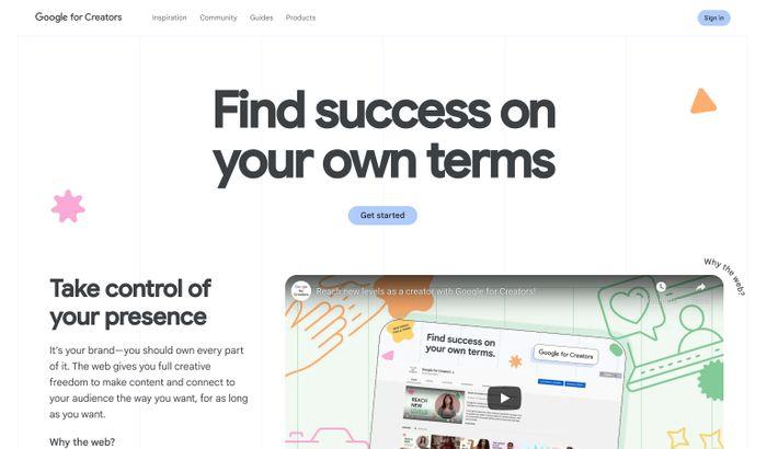 Screenshot of Google for Creators website