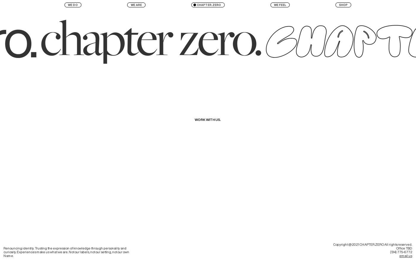 Screenshot of Chapter.Zero website