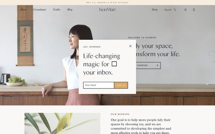 Screenshot of KonMari – Founded by Marie Kondo.