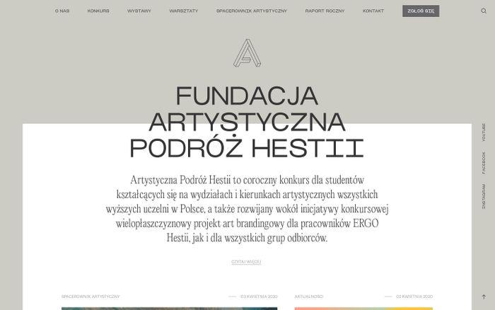 Screenshot of Strona główna - Artystyczna Podróż Hestii