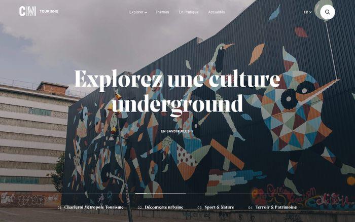 Screenshot of CM-Tourisme, la plateforme de Charleroi Métropole dédiée au tourisme.
