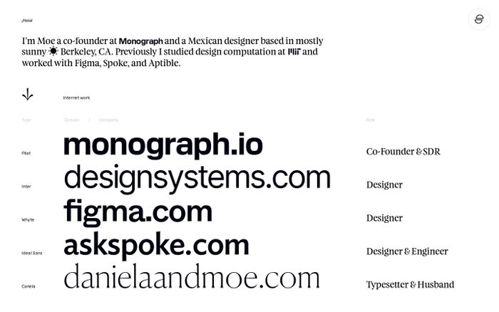 Screenshot of Moe Amaya website