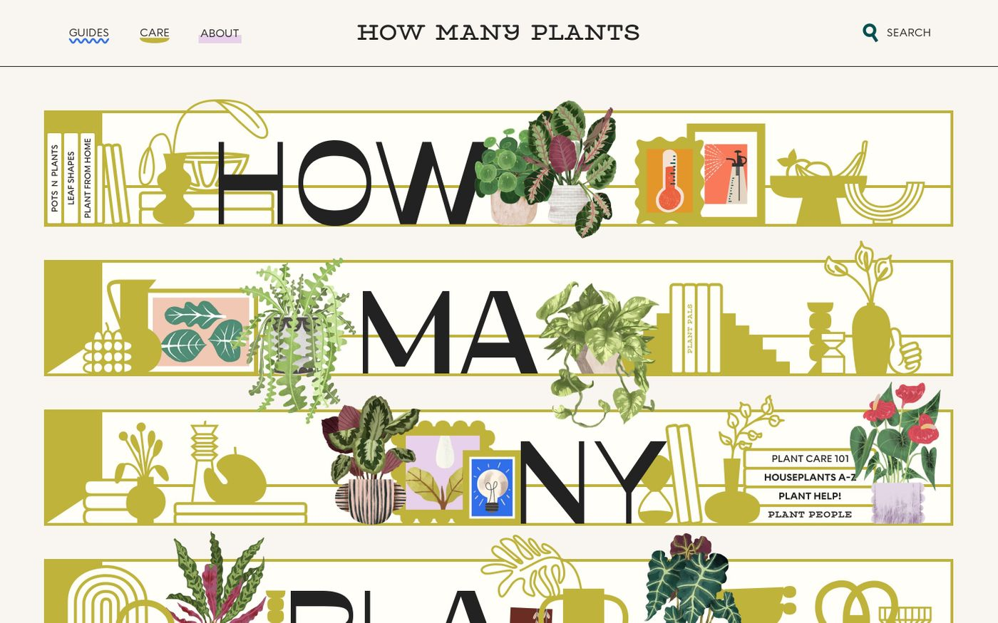 Screenshot of How Many Plants website