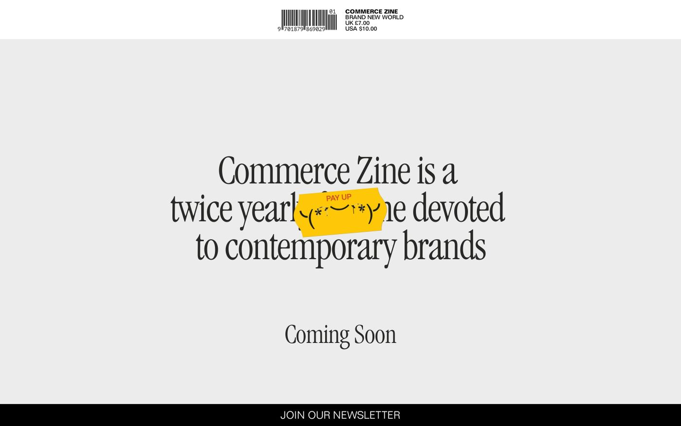 Screenshot of Commerce Zine website