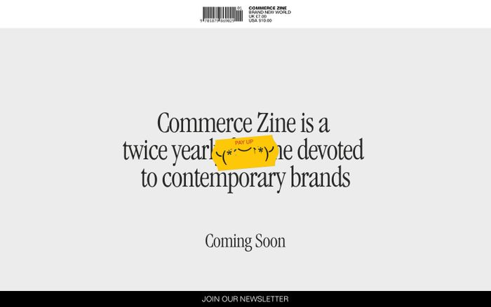 Screenshot of Commerce Zine | Commerce Zine