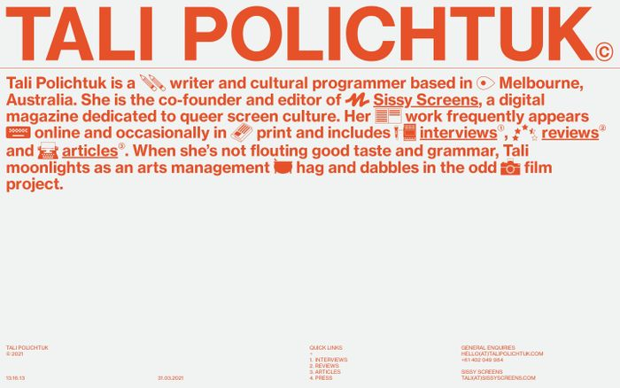 Screenshot of Tali Polichtuk website