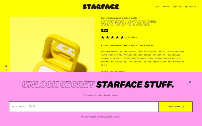 Screenshot of Starface website