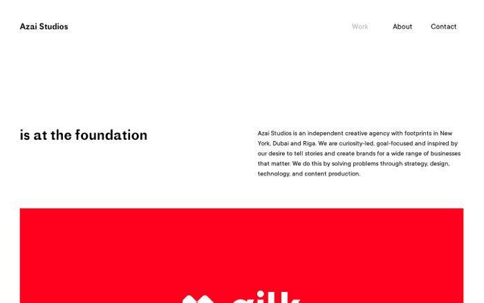 Screenshot of Azai Studios - A digital agency located in NYC, Riga, Dubai