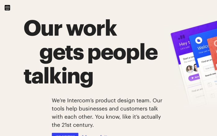 Screenshot of Intercom design website