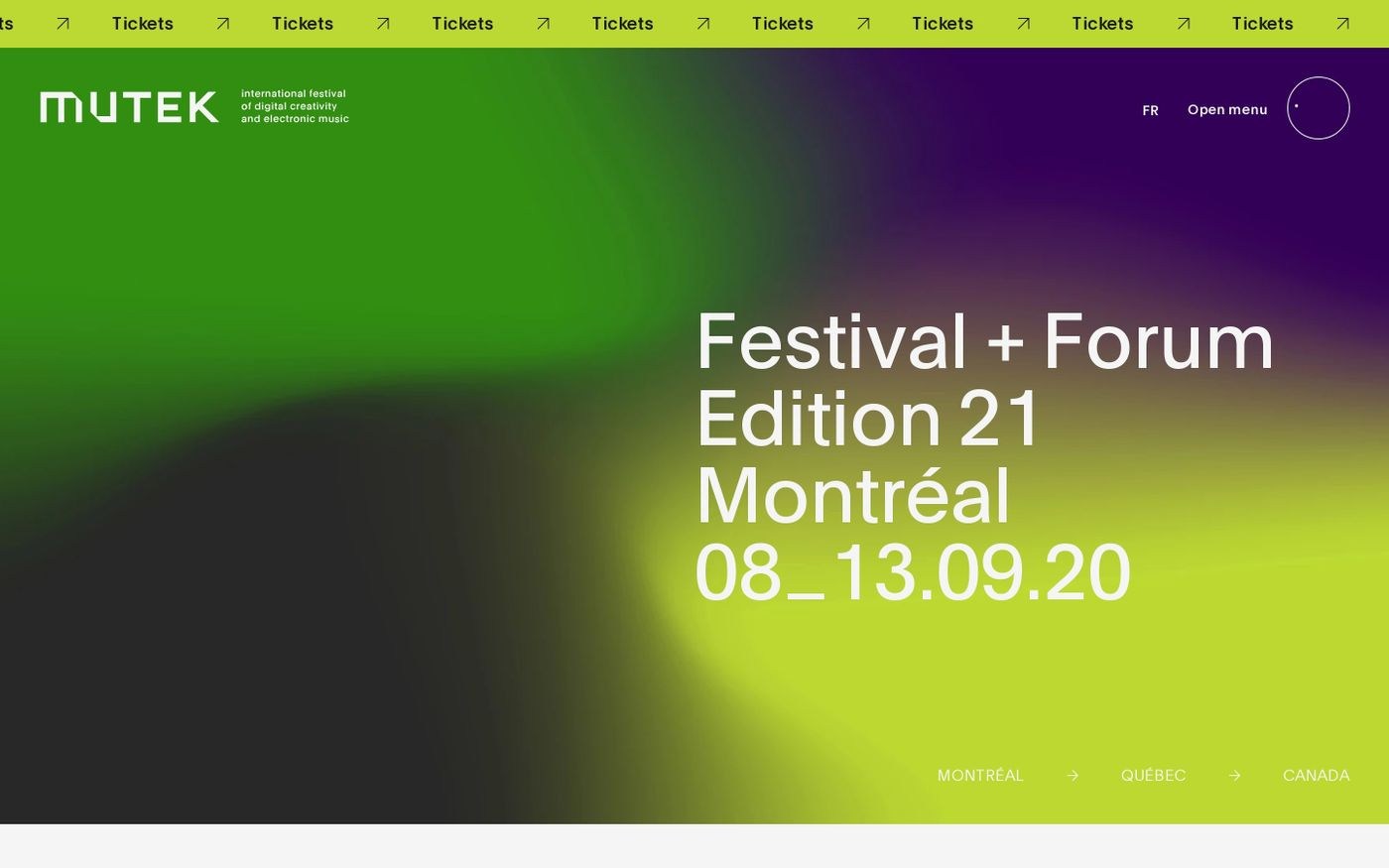 Screenshot of Mutek Montreal website