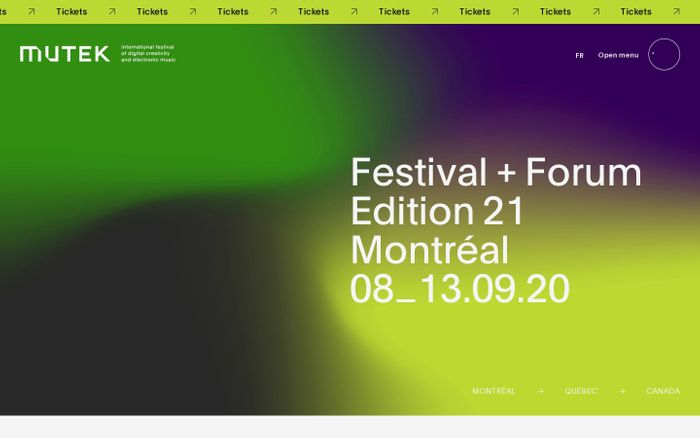 Screenshot of Mutek Montreal website