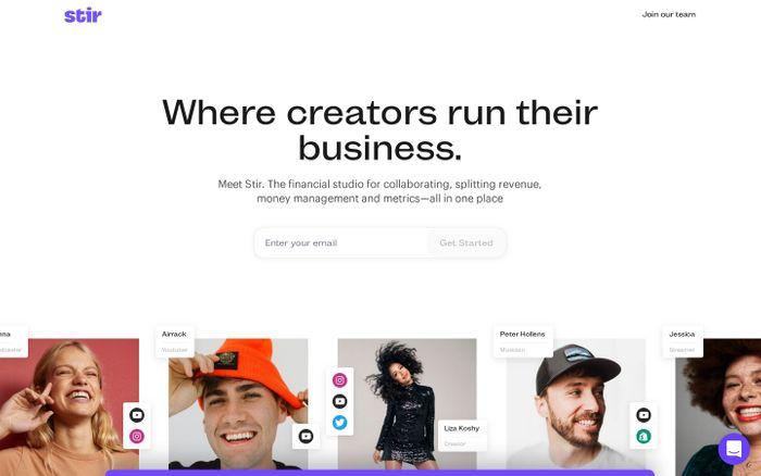Screenshot of Stir website