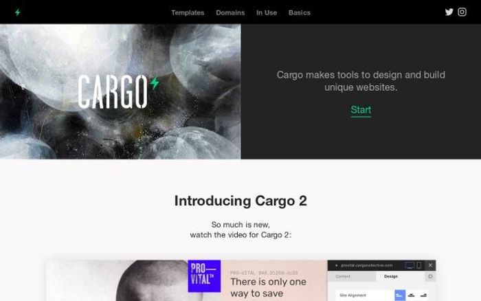Screenshot of Cargocollective website