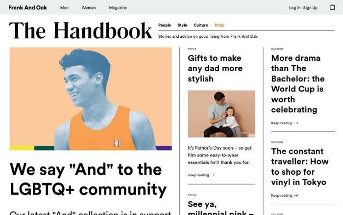 Screenshot of Frankandoak website
