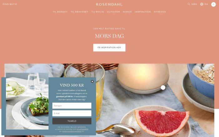 Screenshot of Rosendahl DK website
