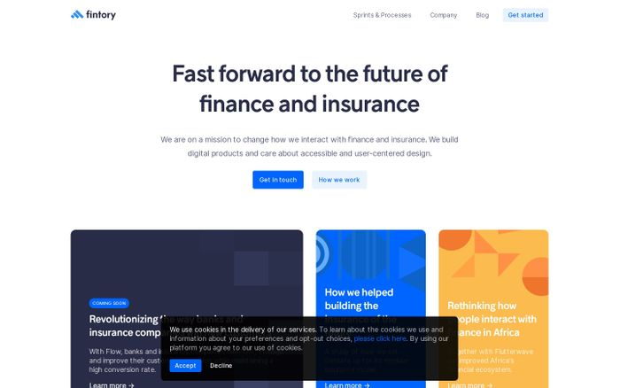 Screenshot of Fintory — Fast forward to the future of finance and insurance