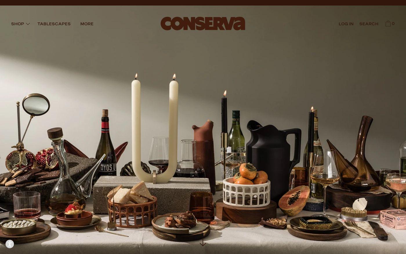 Screenshot of Conserva website