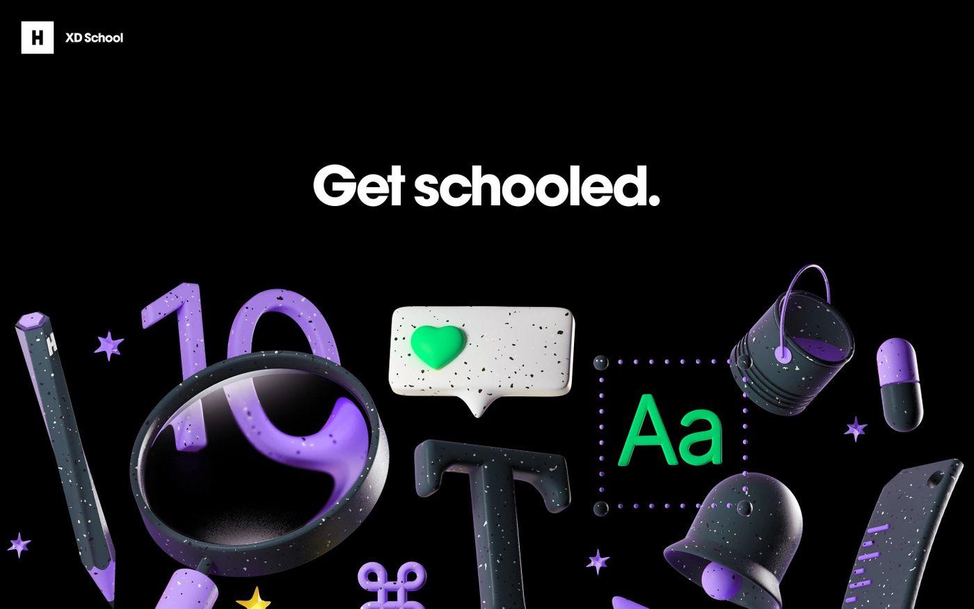Screenshot of Huge XD School website