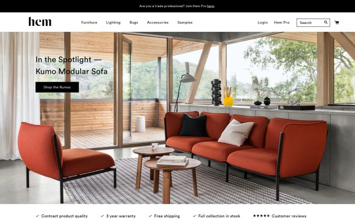 Screenshot of Hem - Contemporary designer furniture for your home and your office website
