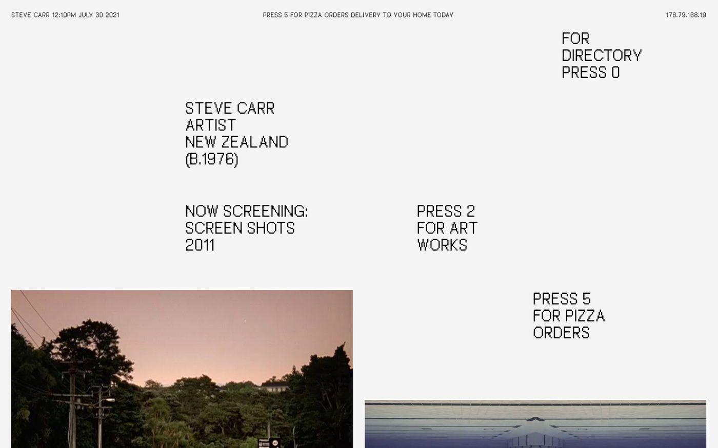 Screenshot of Steve Carr website