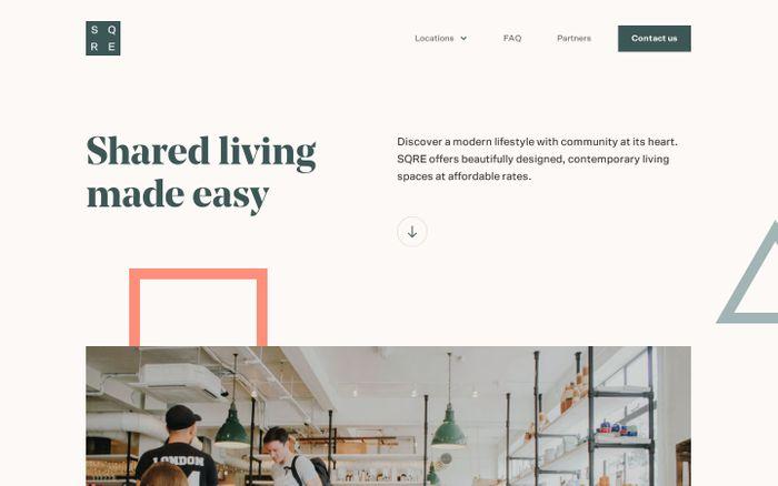 Screenshot of SQRE Living website